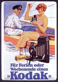 Reproduction on metal of c.1920s German poster. Translation: For holiday or weekend a Kodak.""