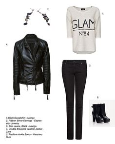 Black & Ribbon - ECJ Style suggestion No. Platform Ankle Boots, Black Ribbon, Slim Jeans, Double Breasted, Black Jeans, Fashion Jewelry, Zara, Leather Jacket, Sweatshirts