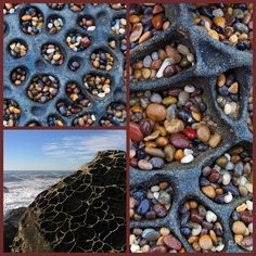 Bean Hollow State Beach is a beach located in San Mateo County near Pescadero CA. The pebbles at the beach have eroded from ocean bottom deposits left millions of years ago. The stones decorate the entire beach along a stretch of Bean Hollow, and tuck themselves away in pockets of tafoni, which are small cave-like features found in granular rock such as sandstone, granite, and sandy-limestone with rounded entrances and smooth concave walls, often connected, adjacent, and/or networked.