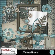 Vintage Dream kit-(P-Ju) Digital Scrapbooking, Display, Kit, Frame, Vintage, Design, Home Decor, Floor Space, Picture Frame