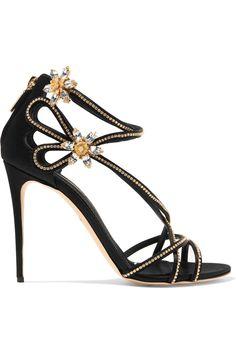 DOLCE & GABBANA Crystal embellished satin sandals. #dolcegabbana #shoes #sandals