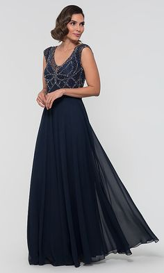 Empire-Waist Long Mother-of-the-Bride Dress Mother Of The Bride 74132a489bf8