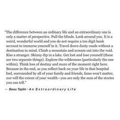 To an extraordinary life