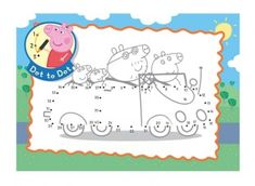 This Peppa Pig dot to dot printable activity shows the family enjoying a day out in their car. After the dots have been joined, the picture can be coloured in too!