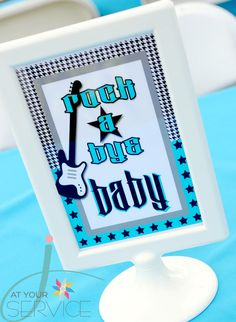 """Photo 1 of 40: Rock n Roll, Guitar, Boy / Baby Shower/Sip & See """"Rock A Bye Baby Shower"""" 