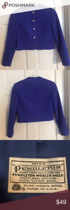 "Vintage Pendleton Blue Wool Jacket. Size 8 Vintage Pendleton Blue Wool Jacket. Size 8.  New condition. Bust: 18"" measured flat across front. Length is 17.5"". Long sleeve. 100% virgin wool. Vintage Jackets & Coats Blazers"