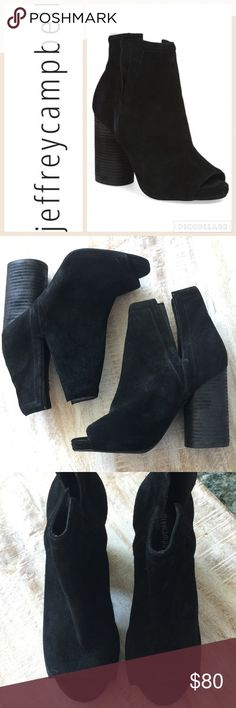 Jeffrey Campbell Oath Peep Toe Platform Bootie/7.5 Step into Fall in style with the Oath Bootie by Jeffrey Campbell!  Current line, in stores now! Black suede upper, side cutouts, size 7.5, 4 in rounded stacked heel, 1/2 in platform. Dept store closeout/customer return/looks new-unworn/no box. Beautiful shoe!  🚫no trades/lowball offers Jeffrey Campbell Shoes Ankle Boots & Booties