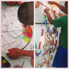 String Painting with the Juvenile Detention Center, then made into paper chains as a group project.