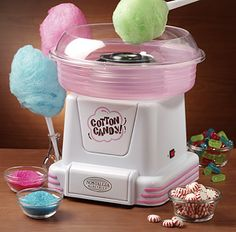 I love this!  You use your own hard candy, even sugar free, to make cotton candy!!!  Hard & Sugar-Free Candy Cotton Candy Maker