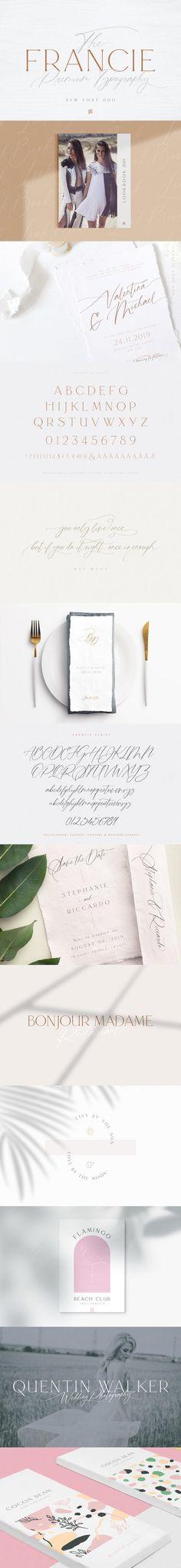 Francie Font Duo #clothing #woff #webopenfontformat #ttf #logo #webopenfontformat #truetypefont #truetypefont #WeddingFont #handwritten #ttf #highfashion #magazine #branding #fashion #fontduo #wordmark #LogoType #alphabet Calligraphy Fonts, Typography Fonts, Typography Design, Lettering, Feminine Fonts, Elegant Fonts, Modern Font, Open Fonts, Font Design