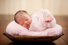 cute pose - baby in bowl, shallow depth of field