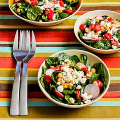 Mediterranean Spinach Salad with Garbanzos, Tomatoes, Radishes, and Sumac-Lemon Vinaigrette Recipe Salads with garbanzo beans, baby spinach, cherry tomatoes, radishes, green onions, feta cheese crumbles, ground black pepper, sumac, minced garlic, salt, lemon juice, sumac, extra-virgin olive oil