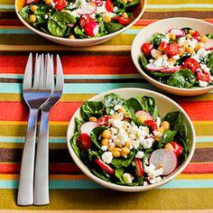 Mediterranean Spinach Salad with Garbanzos, Tomatoes, Radishes, and Sumac-Lemon Vinaigrette Recipe Salads with garbanzo beans, baby spinach, cherry tomatoes, radishes, green onions, feta cheese crumbles, ground black pepper, sumac, minced garlic, salt, lemon juice, sumac, extra-virgin olive oil