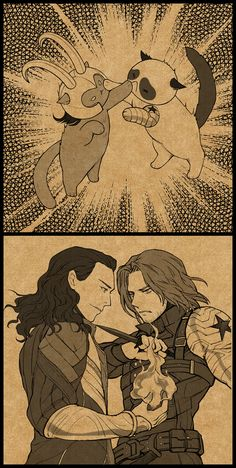 "sevenmileorz: "" 【Chinese Language】Fanart about The Knives League ( Loki and Bucky)。 """