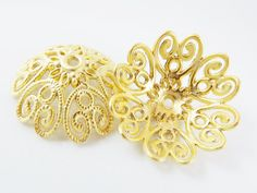 2 Extra Large 28mm Ornate Filigree 22k Matte Gold by LylaSupplies, $4.50