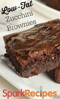 Shhhh! They may not look like it, but these are secretly healthy brownies! Banana, zucchini (which you can't even taste!) and applesauce all work together for a wholesome sweet treat you can feel good about eating. #food #recipe #dessert #chocolate #diet #nutrition #brownies