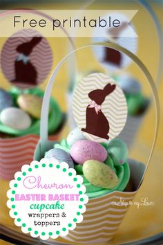 Free Printable Easter basket  Chevron cupcake wrappers and toppers! www.skiptomylou.org