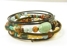 Boho Stacking Bracelets Beach Aqua Yellow Amber by CharleneSevier, $55.00
