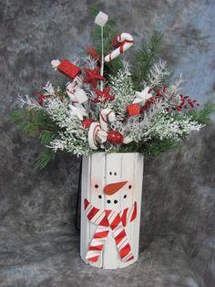 Winter Decor - Snowman Centerpiece - Christmas Decorations -Candy Cane Snowman Floral - Snowman Home Decor - Peppermint Candy - Pine Floral on Etsy, $38.95