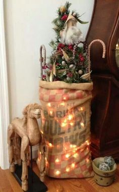 lights behind burlap