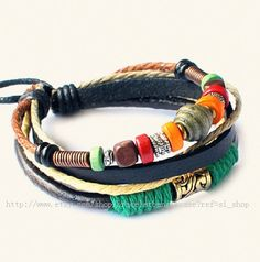 Fashion bangle leather bracelet men bracelet women bracelet punk bracelet made of leather ropes wood beads and metal wrist bracelet Bracelets For Men, Bangle Bracelets, Bangles, Bracelet Men, Leather Bracelets, Mode Man, Hippie Chic, Bracelet Designs, Leather Jewelry
