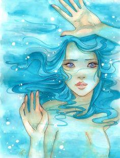 Another watercolor drawing for my other grandma Tools : waterproof black pen, watercolors, colorex. Took me at least for the whole thing E. The Sea Prisoner Fantasy Mermaids, Mermaids And Mermen, Watercolor Drawing, Painting & Drawing, Bleu Turquoise, Aqua Blue, Merfolk, Pop Surrealism, Mermaid Art
