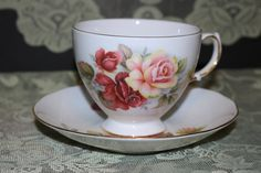 Queen Anne England Bone China Teacup Saucer Vintage Roses Gold Trim Shore Coggins 8517 English Floral Serving Dining Collectible by TresorsEnchantes on Etsy