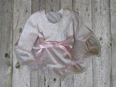 Vestido de niña estampado con lazo rosa// ropa de bebe// 0-6 meses// vestido primavera verano// ropa de niña// hecho a mano