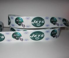 "GROSGRAIN NEW YORK JETS FOOTBALL 1"" INCH RIBBON *YOUR CHOICE OF 1,3 or 5 YARDS"