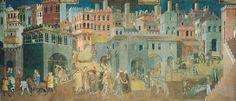 14. Ambrogio Lorenzetti, Peaceful City, from the Allegory of Good Government, Sala del Pace, Palazzo Pubblico, Siena, Italy, fresco, 1338.