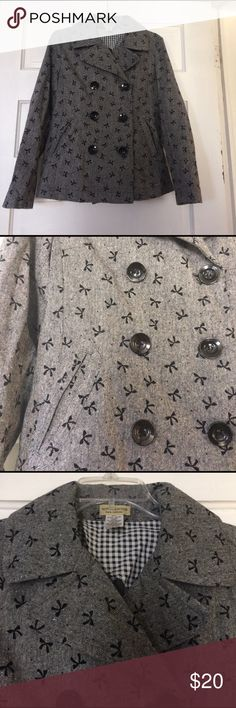 Peacoat With Cute Design.  95% Polyester 5% Wool Grey jacket with bows on it Moon Collection Jackets & Coats Pea Coats