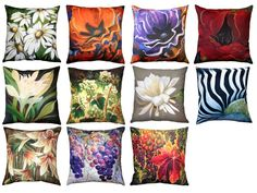 Pillow Decor is the exclusive distributor of Sandra Forzani Throw Pillows. A well recognized painter and interior designer, Sandra Forzani lives and paints in Vancouver, Canada. Floral Throws, Floral Throw Pillows, Decorative Pillows, Summer Vine, Orange Poppy, Daisy, Purple, Painting, Collection