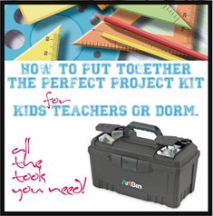 Back to School Toolbox For Students and Dorm School Projects, Fun Projects, School Tool, Kits For Kids, New Teachers, Kids Boxing, Educational Activities, Teacher Appreciation, School Supplies