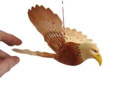 Carved Wooden Eagle Bird Mobile Fan Carving Handmade by MyFanbirds  #integritytt #etsyspecialt