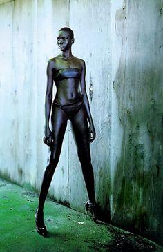 """Alek Wek a commencé à défiler à l'âge 18 ans. Née à Wau en 1977, elle appartient à la tribu Dinka, du Soudan. En 1991, sa famille est partie en Grande Bretagne pour échapper à la guerre civile entre le chrétiens animistes du Sud et les musulmans du Nord. Elle défile maintenant pour les plus grands comme John Galliano, Donna Karan, Calvin Klein et Ermanno Scervino. Elle a été plusieurs fois """"la mariée"""" dans les défilés de Christian Lacroix. Au delà de sa carrière, le top s'implique énormément…"""
