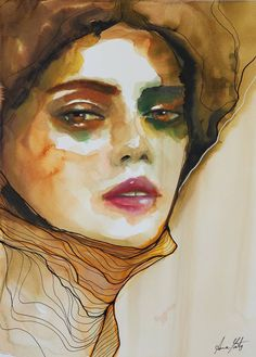 Original Portrait Painting by Anna Matykiewicz The Other Art Fair, T Art, Green Nature, Paper Artist, Mixed Media Canvas, Limited Edition Prints, Watercolor And Ink, Saatchi Art, Contemporary Art