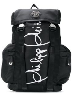 5b3b9e1b5b0 Shop Philipp Plein logo buckle backpack Black Backpack, Backpack Bags,  Logan, Shoulder Strap