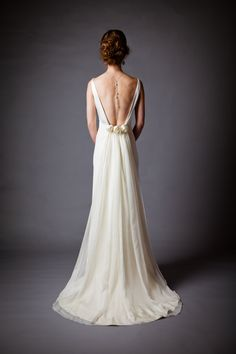 love the back, hate the front  Silk Charmeuse Open Back Wedding Dress