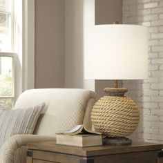 """Argentia Rope 28"""" H Table Lamp with Drum Shade"""