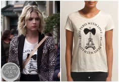 Shop Your Tv: Pretty Little Liars: Season 3 Episode 17 Hanna's White Bow Paris Shirt Paris Shirt, Pretty Little Liars Seasons, Riding Pants, Spencer Hastings, Season 3, My Outfit, Skinny Jeans, Glamour, T Shirts For Women