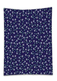 Chaoran Tablecloth Navy Decor Collection Ornate Meshed Daisy Flowers and Vines on Plain Background Decorative Home Extra Long Dark Lilac Green Holiday Home Decorative