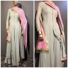 Anarkali in fine Georgette fabric with matching Sharara. Moti border on sharara and kurti. Contrast color dupatta with work. Very soph Kurti Designs Party Wear, Kurta Designs, Blouse Designs, Blouse Patterns, Dress Designs, Indian Attire, Indian Wear, Pakistani Outfits, Indian Outfits