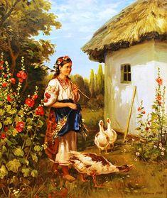 Колисной Геннадий (1968) Квитень Г. Дівчина і гуси.
