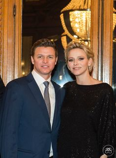 Prince Albert II and Princess Charlene of Monaco hosted a cocktail party to benefit the Princess Charlene of Monaco Foundation for in honor of the Prince Jacques and Princess Gabriella on February 19 2015 in Monaco.