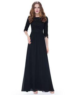 Ever Pretty Womens Floor Length Chiffon Empire Waist Evening Dress 6 US Black