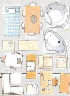 Maqueta de una comoda recortable de un mueble auxiliar for Muebles para armar en casa