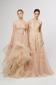 These nude color wedding dresses with romantic ruffles and luxurious lace details are perfect for the bride looking to stand out and goes perfectly with Le Vian's Chocolate Wedding collection.     via @thelaneweddings