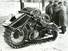 1936 BMW Schneekrad.  #BMW #BMWSchneekrad #vehicle #snowmobile #machine #German #engineering #design #historyinpictures #historicalpix