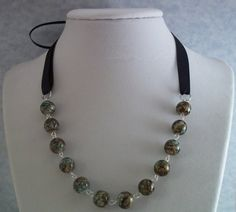 Ribbon Necklace  Chainlink  White With Green and by HotShotDesigns, $18.75