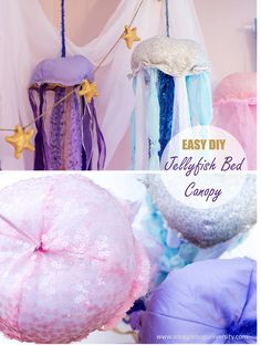 Easy DIY Jellyfish bed canopy perfect for a under the sea bedroom
